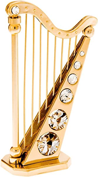 Harp 24k Gold Plated Figurine With Spectra Crystals By Swarovski