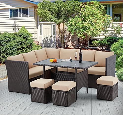 U-MAX 7 Pieces Outdoor Patio Furniture Set,Wicker Patio Furniture Set with Table and Chair, Outdoor Furniture Sets Clearance,Brown Rattan Outdoor Sectional with Tan Cushion