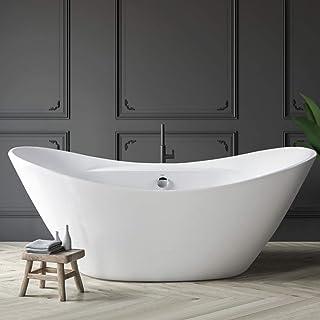 FerdY Acrylic Freestanding Bathtub, F-02503-67 Gracefully Shaped Freestanding Soaking Bathtub, Glossy White, cUPC Certifie...