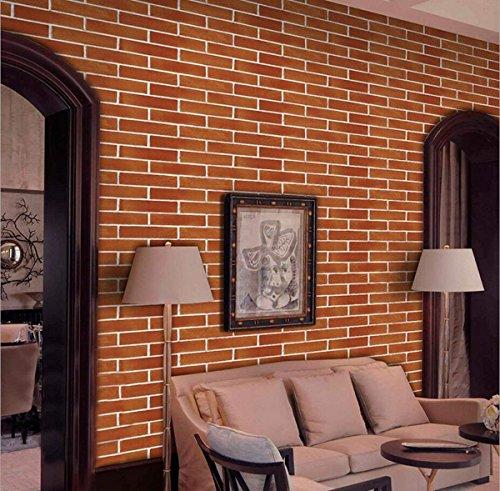 Papier Peint Adhésif Auto-Collant Décoratif Wallpaper Sticker Repositionnable Rouge brique Décoration Maison Salon Cuisine Panneau DIY Mousse Imperméable Moderne 45 * 500cm