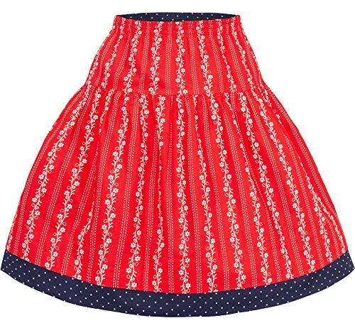 Isar-Trachten Lisa 60806 - Falda tirolesa para niña, talla 98-152, color azul y rojo
