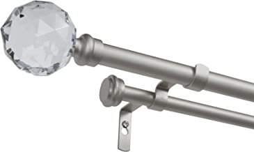 Exclusive Home Curtains Crystal Ball Double Curtain Rod and Coordinating Finial Set, 66