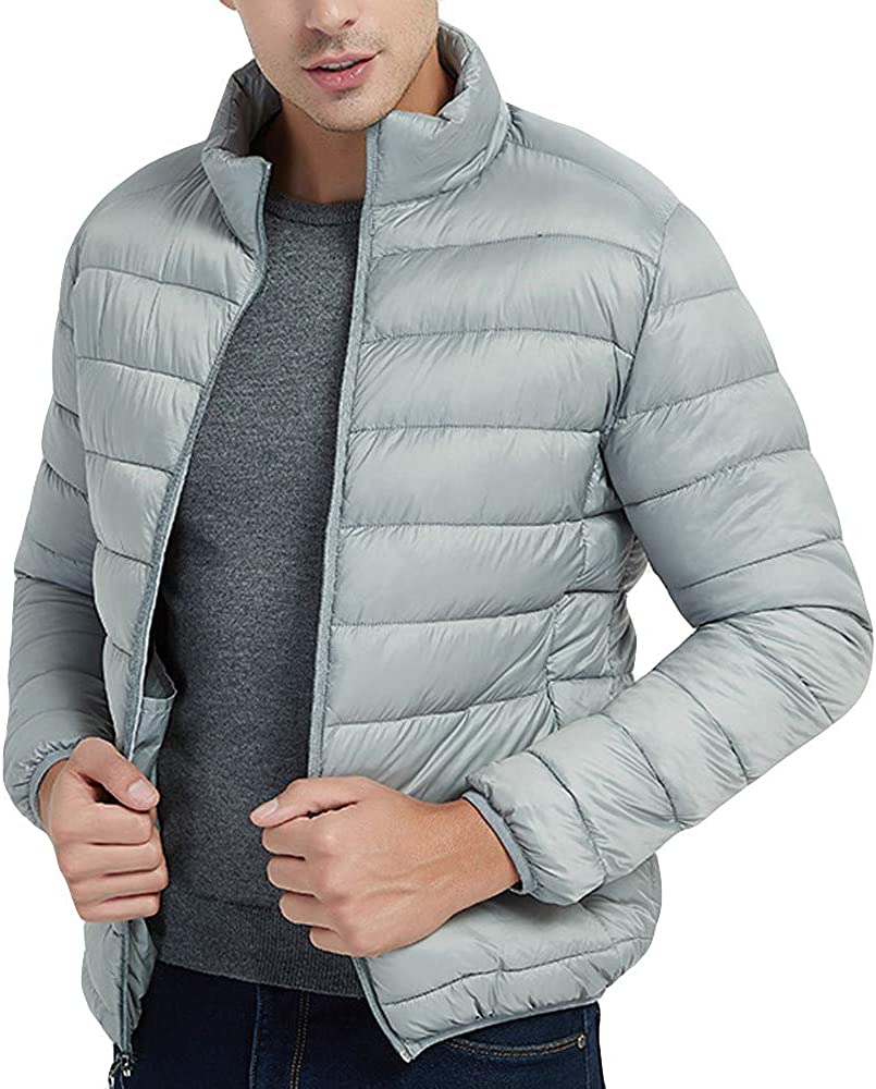 DIOMOR Mens Casual Solid Color Warm Puffer Jacket Packable Stand Collar Quilted Down Coat Waterproof Down Jacket