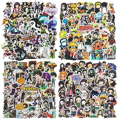 200St. Anime Stickers Naruto-Aufkleber, Hunter x Hunter, DemonSlayer, My Hero Academia(50pcs per Style) Sticker Pack für Laptop, Autos, Motorrad, Fahrrad, Skateboard-Gepäck für Jugendliche, Kinder