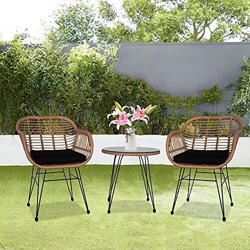 EIVD, set di mobili da giardino, set di 3 pezzi, set di mobili da giardino in vimini, set moderno da bistrot in rattan, con ripiano in vetro, per cortile e giardino