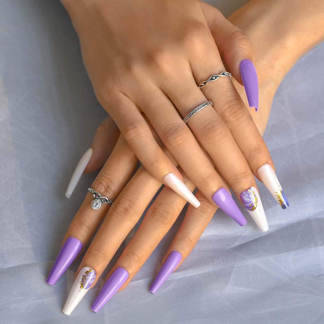 Sethexy Long Purple Ballerina gift False Fa Glitter Coffin Nail Max 60% OFF Bling
