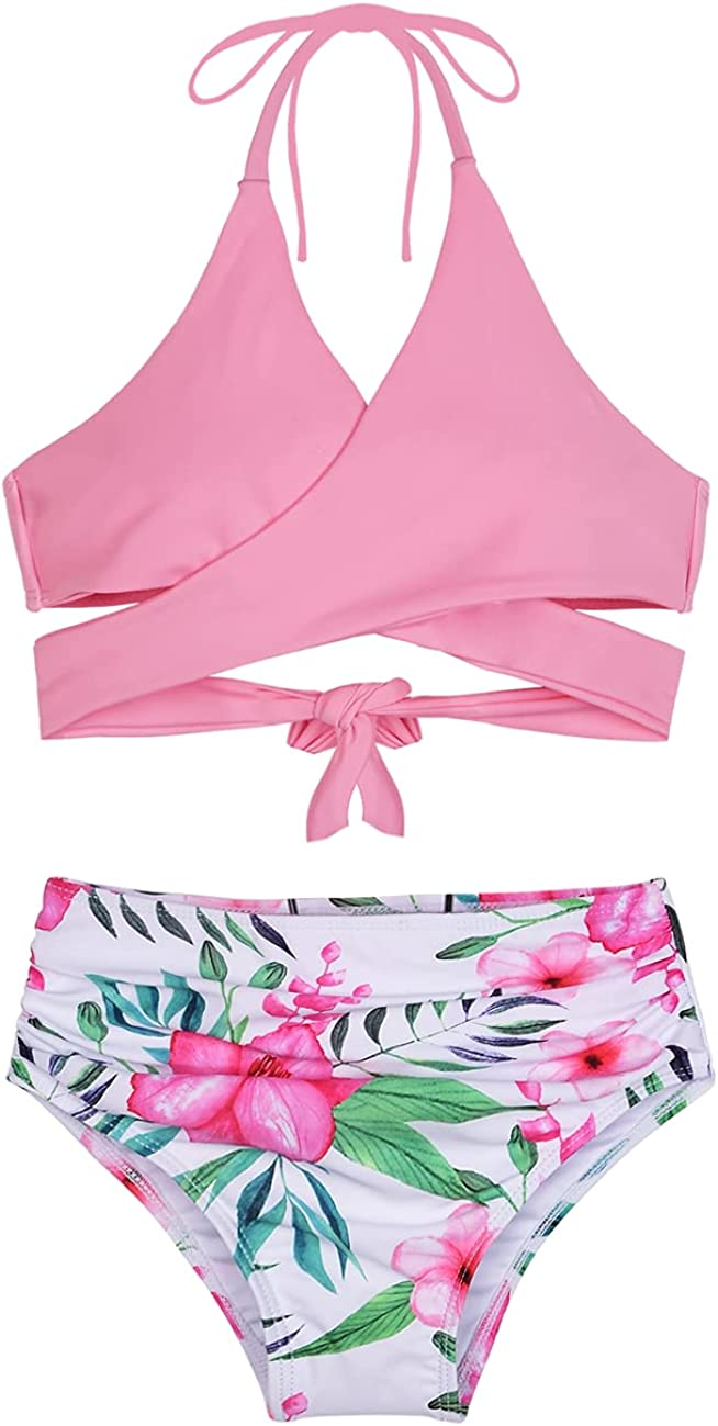 Firpearl Girl's Bikini Set Halter Bandage Bikini Kids Two Piece Swimsuits Swimwear