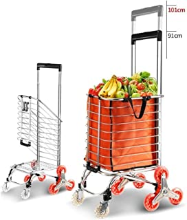 LQBDJPYS Lightweight Climbing Stairs Shopping Trolley with Adjustable Handle Grocery Cart, Aluminum Tri-Wheel Household Va...