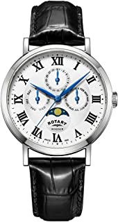 Rotary Mens Windsor Moonphase Day Date Black Leather Strap GS05325/01