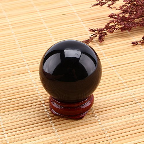 Yosoo glazen bol, helder kristalglas, bol met standaard, verjaardagscadeau, wooncultuur, kantoor, decoratie (diameter 40 mm) (transparant) (zwart)