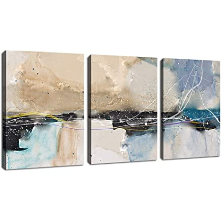 Abstract Canvas Wall Art Contemporary Wall Art Modern Abstract Painting Picture Poster Prints Artwork for Living Room Bedroom Bathroom Decoration Framed Ready to Hang 12 x 16 x 3 Pieces