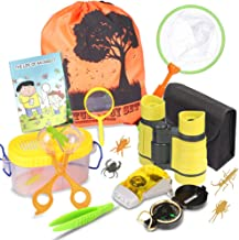 Outdoor Explorer Kit & Bug Catcher Kit with Binoculars, Flashlight, Compass, Magnifying Glass, Butterfly Net and Backpack Great Kids  Boys & Girls Age 3-12 Year Old Camping, Hiking, Pretend