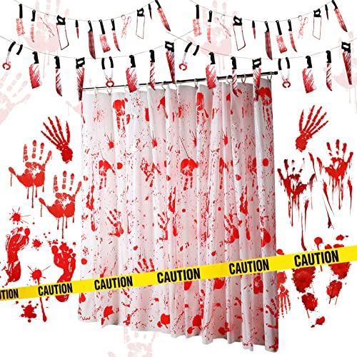 25 Stücke Halloween Blutige Girlande Banner Blutiger Halloween Zombie Duschvorhang Tischdecke Halloween Blutige Handabdrücke Fußabdrücke Aufkleber Gelbes Vorsichtband für Party Gefallen