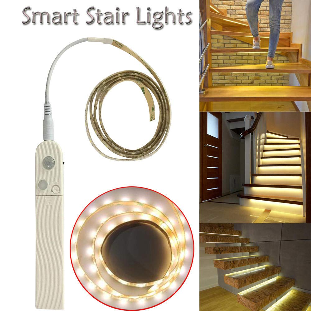 ENLAZY Luces Inteligentes de Escalera de 100 cm Lámpara de Sensor de Movimiento Luz de Escalera de inducción Nocturna Caja Fuerte Subir Abajo: Amazon.es: Hogar