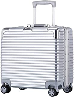 GLJJQMY Trolley Suitcase Aluminum Frame 18-inch Password Box Boarding The Chassis Trolley case (Color : Silver)
