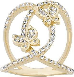 Evan Jewels, EV5-5038 Open Loops Butterfly Ring in Sterling Silver
