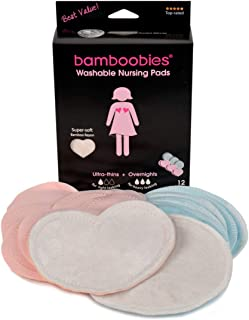 Bamboobies Reusable Nursing Pads (6 Pairs), for Breastfeeding, Super-Soft and Washable Pads, Variety Pack: 3 Pairs of Regular + 3 Pairs of Overnight