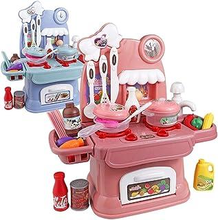 キッズ赤ちゃん女の子クリスマス誕生日新年のギフトのための実サウンドプレイ食品と子供のスーパーマーケット超楽しいプレイセット、子供の食料品店プレイセット、(24個) (Color : Pink)
