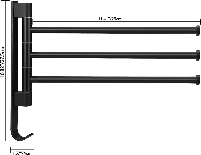 con 3 Postes para Ba/ño y Cocina 360 /° de Rotaci/ón de Toalla de Acero Inoxidable Estante de Toalla qipuneky Toalleros de Ba/ño