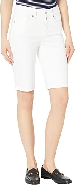 Briella Shorts with Mock Fly and Roll Cuff in Optic White