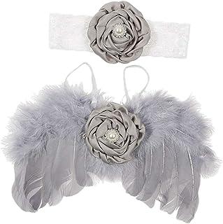 yotijar Newborn Baby Angel + Lace Headband Photo Photography Prop - Gray - Gray