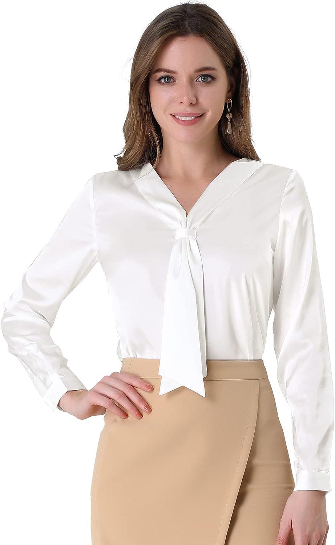 1940s Blouses, Tops, Shirts, Knitwear Allegra K Womens Work Office Shirt Tie Neck Long Sleeve Elegant Satin Blouses  AT vintagedancer.com