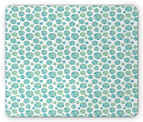 Blue Green Mouse Pad, Fractal Looking Mosaic Circles with Triangles Repeating Motifs Artistic Ornament, Standard Size Rectangle Non-Slip Rubber Mousepad, 9.8 X 11.8 Inch
