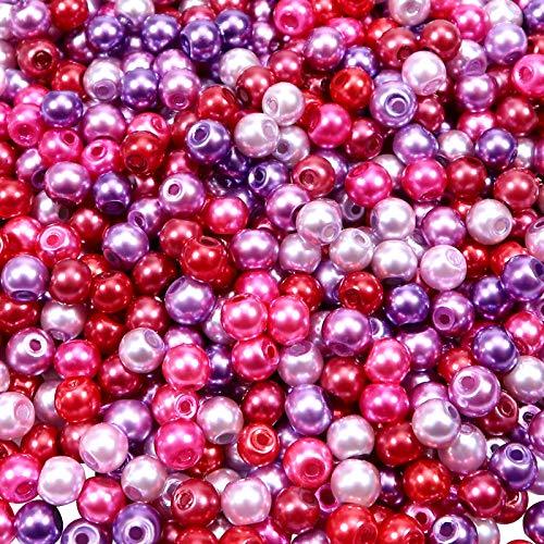 TOAOB 1000 Piezas Mezcla de Colores 4 mm Cuentas de Vidrio Perlas de Imitación Redondas Abalorios de Cristal para DIY Pulseras Collares Bisutería y Fabricación de Joyas Accesorios