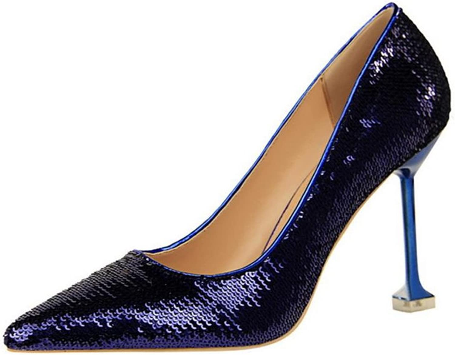 TUYPSHOES Women's Sequin Sharp Pointed with High Heels Bridal shoes Slip On Hidden Platform Pumps Work shoes Party shoes