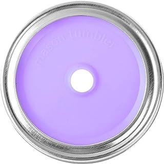 Zaldita 10Pcs 70mm Mason Jar Lids Split-Type Rust Proof Stainless Steel Screw Bands Caps Milk Tea Lids with Straw Hole for...