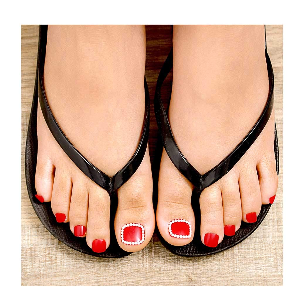 Fstrend 24Pcs Glossy Fake Toenails Pearls Acrylic Full Cover 1 year warranty Large-scale sale Red