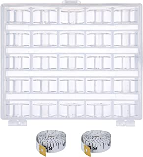 Tbestmax 75 Pieces Transparent Plastic Sewing Machine Bobbins Spools with Case for Brother Singer Babylock Janome Kenmore