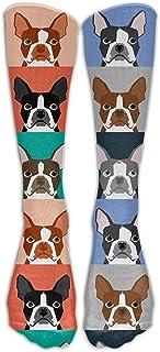 ulxjll, Medias De Compresión Boston Terrier Perro Dibujos Animados Transpirable Niñas Divertido Viaje Niños Medias De Rodilla Calcetines Largos Personalizado 50Cm