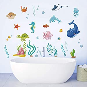 Runtoo Under The Sea Wall Decals Fish Underwater Wall Stickers for Kids Bedroom Nursery Bathroom Adventure Wall Décor