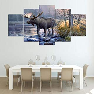 KKXXFBH Wall Art Frame Canvas Living Room Abstract 5 Panel Moose Animal Lake Landscape Pictures Home Decor Modern Hd Printed Paintings