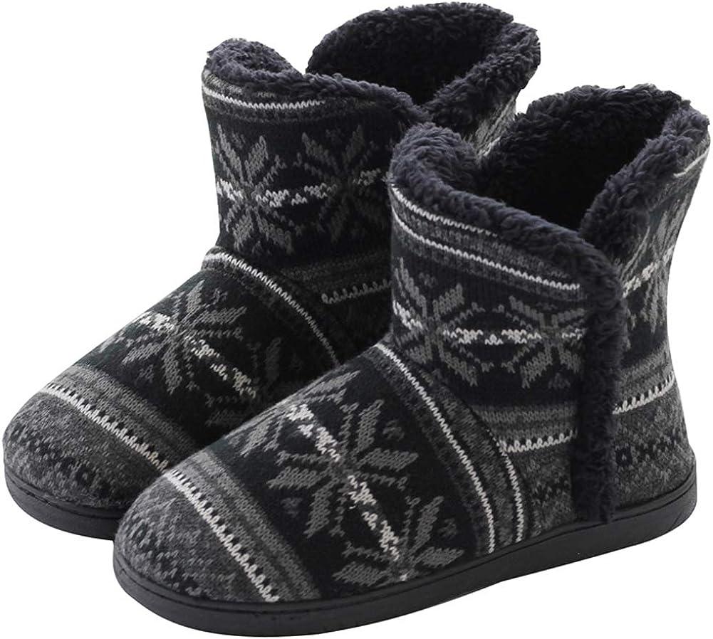 DimaiGlobal Mujer Zapatillas de casa Cálidode con Bordes del Tejido de Punto y Pompons Interior y Exterior Lana al Forro de Felpa Suela Antideslizante Zapatos Invierno Pantuflas Botines