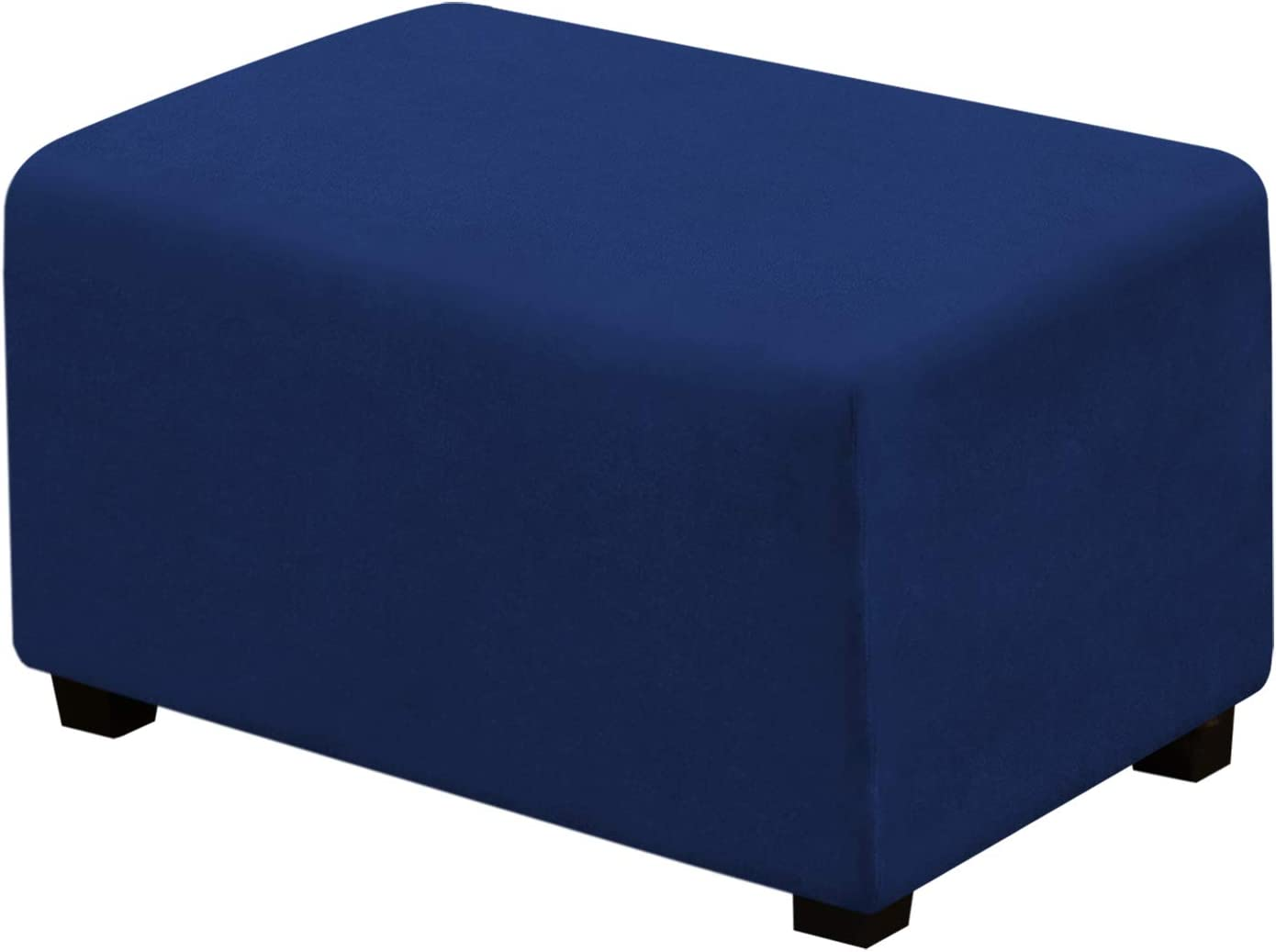 Suede Ottoman Cover Ottoman Slipcovers Removable Footstool Protector Velvet Plush 1 Piece Water Repellent Furniture Protector with Elastic Bottom, Machine Washable (Ottoman Large, Navy Blue)