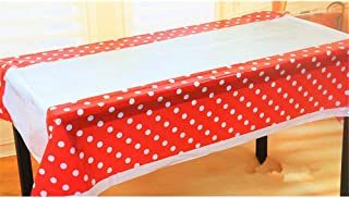 Anytec Mini Polka Dot Colorful Plastic Disposable Tablecloth Banquet Tablecover Picnic Birthday Wedding Party Favor Supplies (Red)