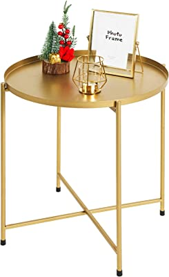 Tiita Solid Round Side End Table Sofa Table Metal Corner Table Coffee Snack Tray Table Snack Accent Table Anti-Rusty for Outdoor and Indoor Use (Gold)