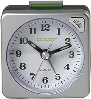 KORJO Analogue Alarm Clock, 5.5 Centimeters, Silver/Black