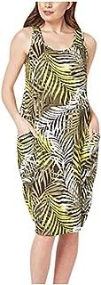 Plus Size Floral Midi Summer Dresses Women NRUTUP-Dress Sleeveless Tank Pocket Sun Dress Beach Holiday Boho Dress