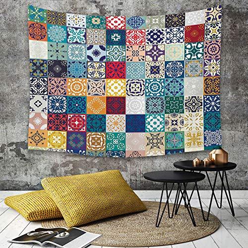 Tapestry,Hippie Tapiz,tapiz de pared con decoración para el hogar,Puesto marroquí, patrón de mosaico con diferentes figuras árabes colorid,para picnic Mantel o Toalla de Playa redonda 180 x 230 cm