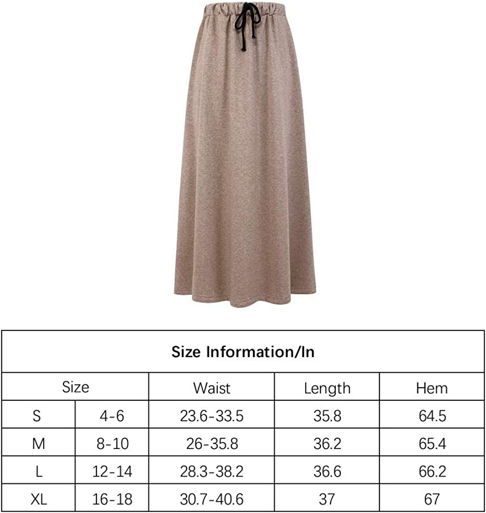 Ylingjun Womens Warm Fleece Lined Long Jersey Skirts Elastic Waist A Line Flared Winter Skirt