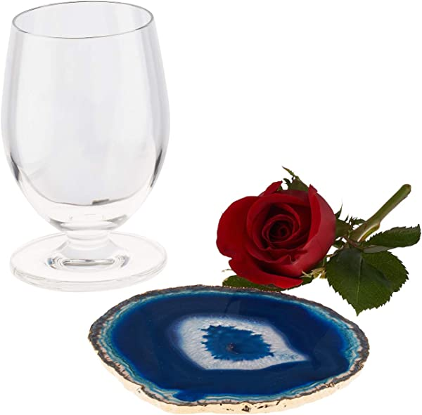 EarthBeneath 4 5 Blue Gold Plated Agate Slice Nature S Canvas Drink Coaster For Mug Or Wine Glass Gold Rim Blue