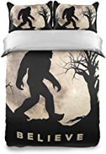 NDZHZEO Bedding Duvet Cover 3 Piece Funny Bigfoot Sasquatch Full Moon Pattern Design Bedding Set Gifts