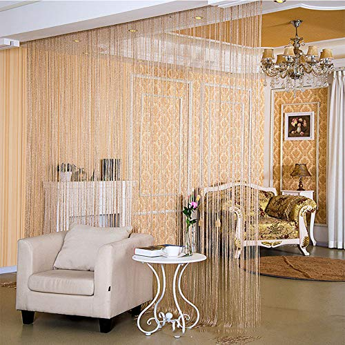 """Desirable Life Decorative Door String Curtains Wall Panel Tassels Blinds Room Divider for Wedding Party Restaurant Home (Champagne, 39.4"""" x78.7"""")"""