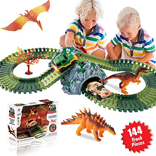 HOMOFY Dinosaur Toys Race Car Track Sets 144 Pcs Flexible Tracks, 3 Dinosaurs, 2...