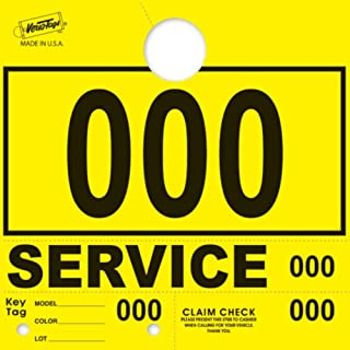 Service Dispatch Numbers RL78 Style Mirror Hang Tags Numbered (Yellow, 000-999)