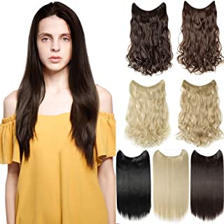 """Hair Extensions 20"""" 90G Invisible Wire No Clips in Full Head Hair Extension Secret Rubber Band Hairpieces Real Natural Hum..."""
