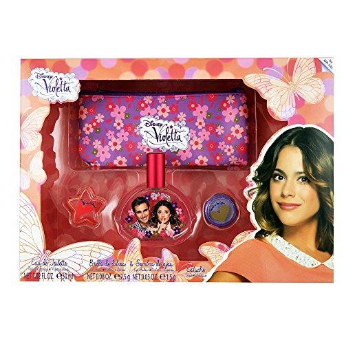Disney Violetta/Geschenk-Set: Eau de Toilette (Parfum) 30ml + Kosmetiktasche + Lipgloss + Lidschatten - für Kinder
